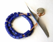 Russian Blue Trade Bead Necklace,  vintage glass beads, natural Greek leather cord, buffalo head nickel button clasp, Father's Day Gift