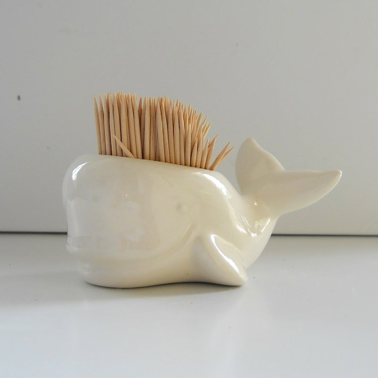 Whale toothpick holder in white perfect gift for by fruitflypie - Toothpick holder for purse ...