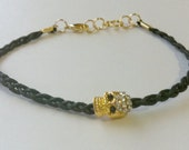 Black Braided Bracelet with a Gold Skull Rhinestone Bead- ARM CANDY 2012- Free gift w/ purchase