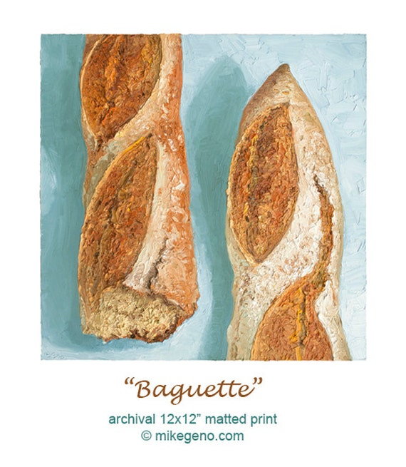 Baguette Bread Portrait Archival Print By Mike Geno