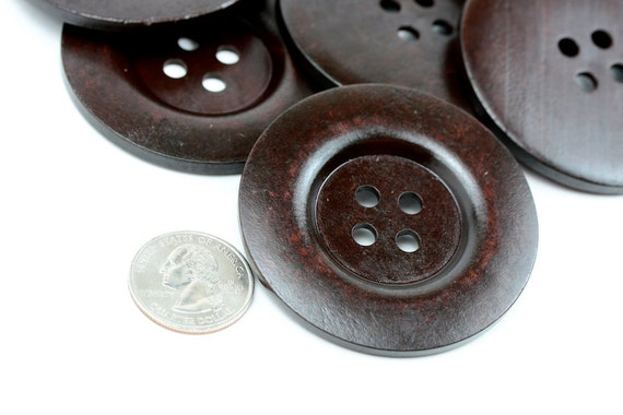 12 pcs Big Dark Brown Wood Buttons 60mm 6cm 2.375 inches - 4 holes