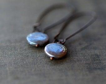 Peacock Pearl Earrings, Natural Freshwater Pearl Earrings, Rich Color Drops, Iridescent Earrings, Copper Earrings, Pearl Dangle Earrings