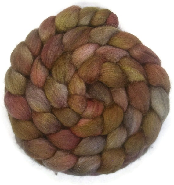 Handpainted BFL Tussah Silk Wool Roving - 4 oz. WATERCOLOR - Spinning Fiber