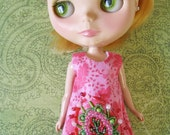 SALE Pink Leafy beaded Blythe dress