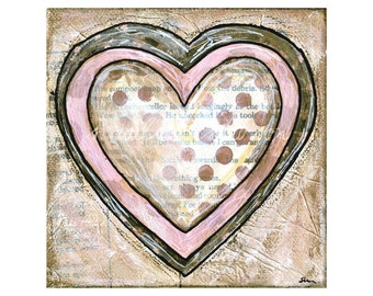 love hearts pink (reproduction print of mixed media painting collage)