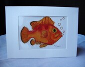 Red and Orange Fish Original Illustration- Artist Trading Card Size