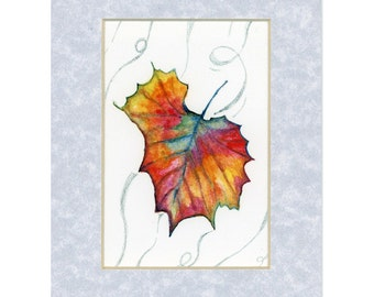 Autumn Leaf in wind signed limited edition print