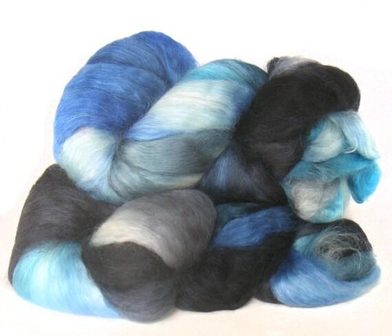 WENSLEYDALE SILK roving top handdyed spinning fibre 3.7 oz
