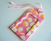 Fabric Luggage Tag - Pink Martini by Amy Butler Modern Print, badge holder, bag tag, luggage id