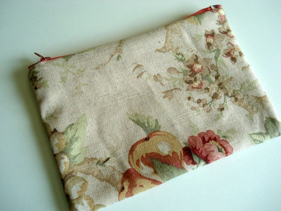 Cream Linen Floral Zipper Pouch - Cotton Canvas