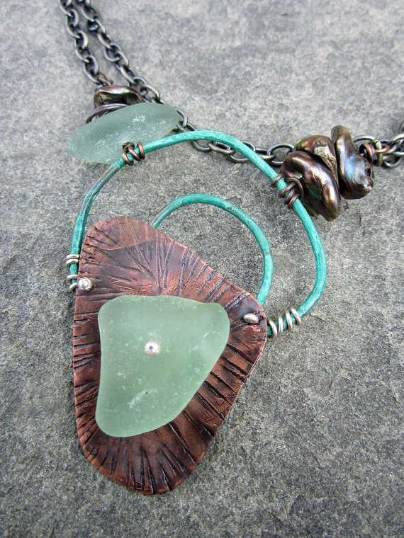Song of the Sea Copper and Sea Glass Necklace