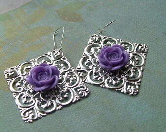 Light purple lavender rose and filigree earrings