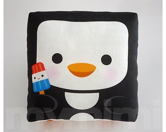 Decorative Pillow, Penguin Pillow, Animal Pillow, Black and White, Stuffed Toy, Kawaii, Baby Shower, Room Decor, Childrens Toys, 7 x 7""