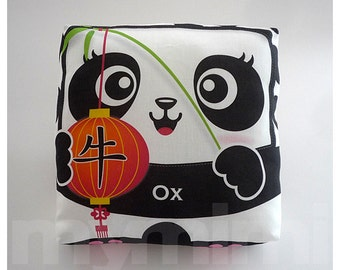 """Chinese Zodiac The Year of the Ox, Chinese Zodiac Print, Chinese Astrology, Animal Pillow, 7 x 7"""""""
