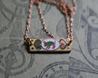 Taurus Zodiac  / Art Nouveau / Enamel Necklace / Gift
