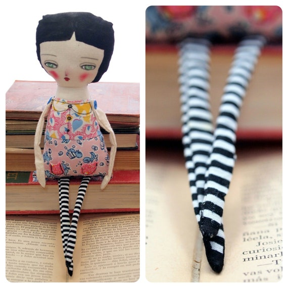 MIA - Original Handmade Fabric Doll by Danita Art (Approx. 12 Inches Tall)