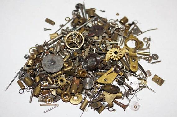 1 oz  - 28 grams - 200 plus pieces - Vintage Steampunk Watch Parts Gear Cogs Dials Supplies Lot