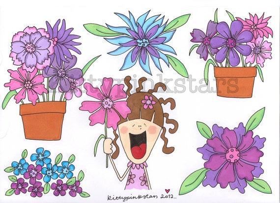 Kitty's flower power stickers