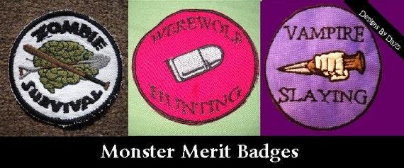 Monster Merit Badge Survival Patches Zombie Survival Werewolf Vampire