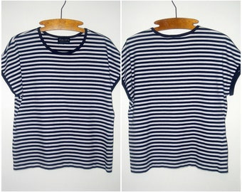 Womens Striped Shirt- Butterfly Top- Navy White STRIPED SHIRT- Vintage Crop Top- Nautical Inspired Clothing- 1980s 1990s Womens Clothing