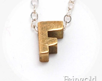F - Initial Tiny Letter - Vintage Brass Pendant on Sterling Silver Chain - Free US Shipping
