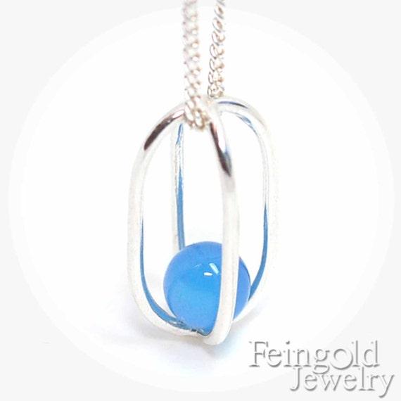 Blue onyx - SEPTEMBER BIRTHDAY: Sterling Silver Necklace Blue Onyx - Sterling Silver 18 Inch Chain- Free US Shipping