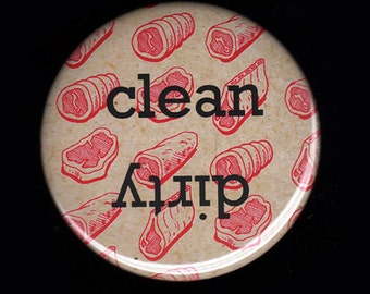 Retro Meat Clean/Dirty Dishwasher Magnet