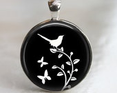 Bird Pendant - Wistful White Bird - Glass Pendant in Silver Bezel Setting - 30mm