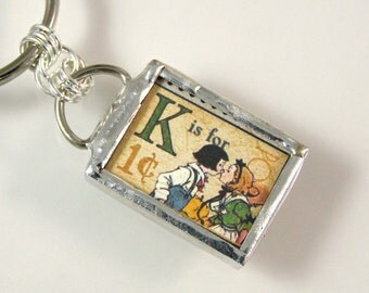 K is for Kiss Initial Keychain