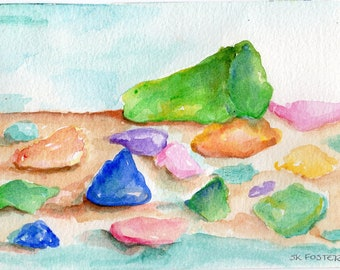 Original sea glass watercolors painting, 5 x 7  painting of beach glass in watercolors, sea glass original watercolor painting, beach decor