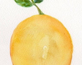 Lemon Watercolor  Painting  Original, 5 x 7  Citrus Fruit artwork, original watercolor painting lemon, leaves, lemon decor, kitchen