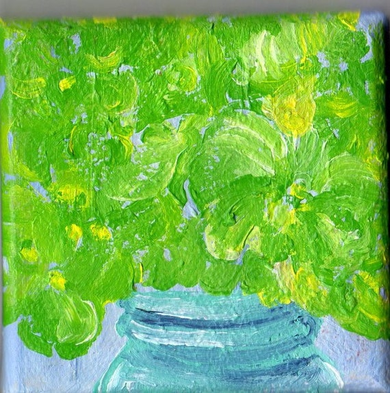 Lime Green Hydrangeas in Canning Jar  original  mini painting on Canvas with Easel