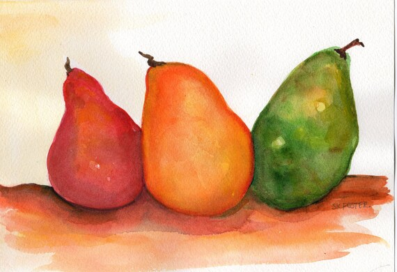 Pears watercolor painting,  Original painting of pears, still life, 7 x 10 watercolor red, yellow and green pears, kitchen art