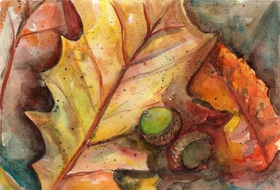 Autumn Leaves Painting Autumn Leaves Acorns