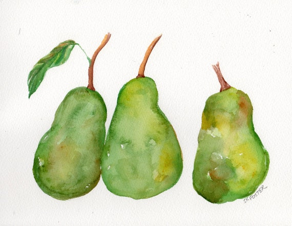 3 Pears Still Life original watercolor painting, Original 8 by 10 inches, Small format art, SFA