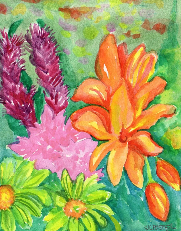 Tropical Flowers watercolors paintings original 5 x 7