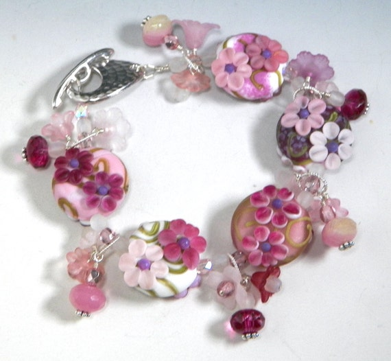 Reserved SALE: Romantic Pink Floral Flowers Lampwork Bead Bracelet by Starlight Designs