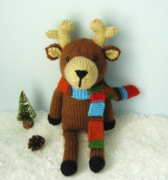 Knit Amigurumi Patterns : Amigurumi Knit Reindeer Pattern Digital Download