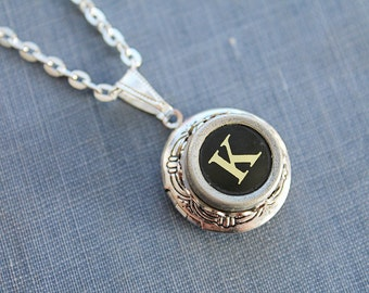 K INITIAL Vintage TYPEWRITER Key LOCKET Style Necklace Black Key Retro Fun