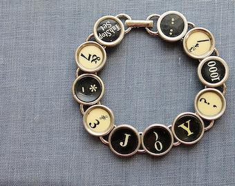 TYPEWRITER Key BRACELET Jewerly Made with Typewriter Keys JOY