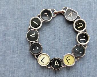 TYPEWRITER Key BRACELET Jewerly Made with Typewriter Keys LOVE Live Laugh Luv