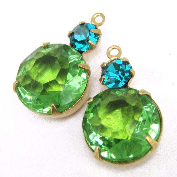 Peridot, Green, Vintage Rhinestone, Blue Zircon, Swarovski Crystal, Golden Brass Settings, Charms, Glass Jewel, 19mm, Worldwide Shipping