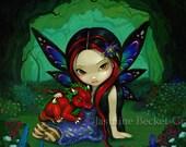 Dragonling Garden I one faery girl dragon companion  fairy art print by Jasmine Becket-Griffith 8x10