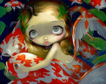 Amongst the Koi japanese fish pond fairy art print by Jasmine Becket-Griffith 8x10