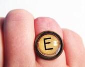MONOGRAM LETTER TYPOGRAPHY: Letter E Adjustable Glass Typewriter Ring.