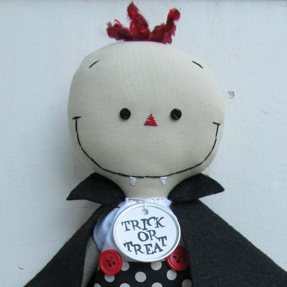 Halloween Vampire handmade cloth rag doll