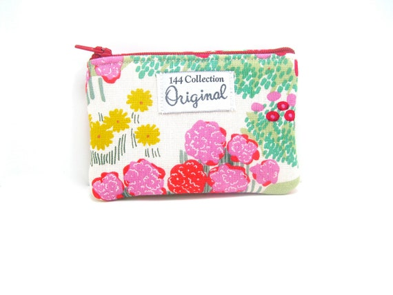 Mini Wallet/ Coin Purse - Pink Tiny Forest Coin Purse, Change Purse, Zipper Pouch