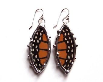 Monarch Petal Earrings - Real Butterfly Jewelry