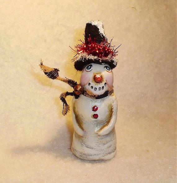 Primitive Dollhouse SNOWMAN Tiny Folk Art Ornament