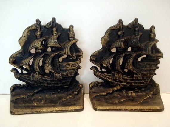 Vintage Cast Iron Nautical Book Ends Heavy Metal Maritime Sailing Sailboats Tall Ships Bronze Retro Housewares Vintage Home Decor